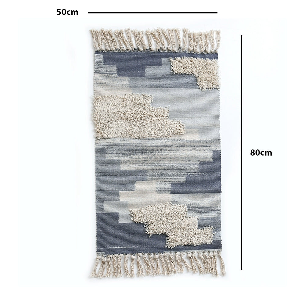 Geometric Pattern Cotton Woven Throw Rug Ombre Blue 80cm - Propstation