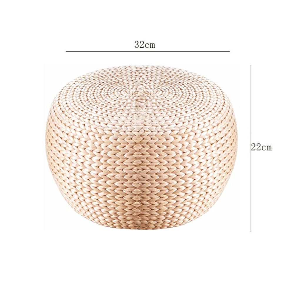 Round Weave Natural Rattan Accent Pouf Stool 32cm - Propstation