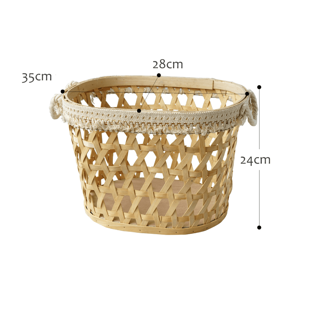 Wooden Round Woven Basket Light Wood with Trims - Large - Propstation
