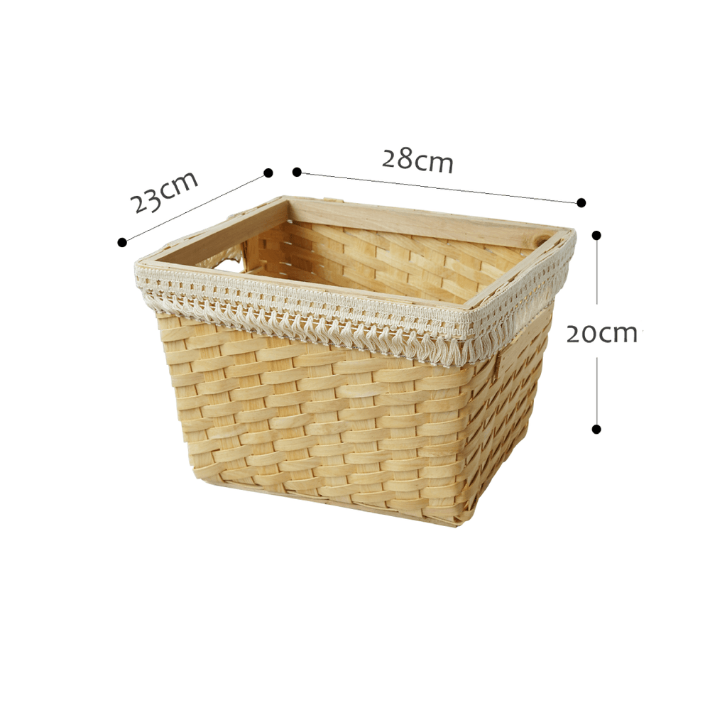 Wooden Rectangular Woven Basket Light Wood with Trims - Medium - Propstation