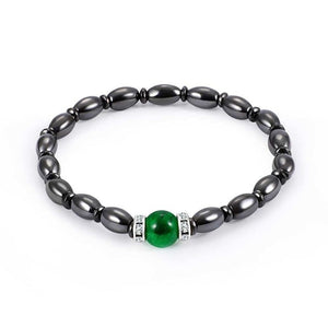 1Pc Weight Loss Round Black Stone Magnetic Therapy Bracelet
