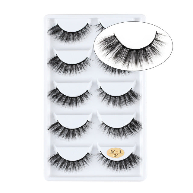 5 Pairs 3D Mink Hair Natural Cross False Eyelashes Long Messy Makeup