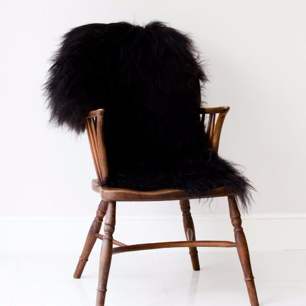 Icelandic Sheepskin Rug - Long Haired Natural Blacky Brown