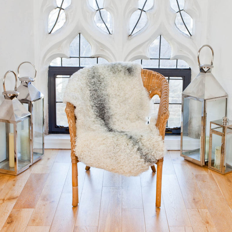 Sheepskin Rug with a tight Curl and flecks of Grey