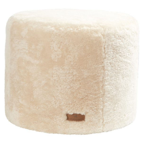 Cream Round Sheepskin Footstool / Pouffe (Frida by Shepherd)