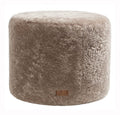 Stone Round Sheepskin Footstool / Pouffe (Frida by Shepherd)