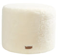 White Round Sheepskin Footstool / Pouffe (Frida by Shepherd)