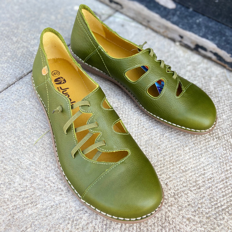 Jungla ladies leather shoes in green
