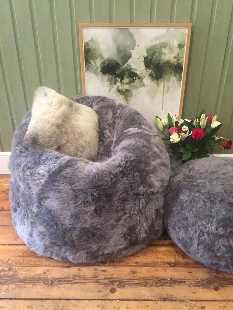 Icelandic Short Haired Sheepskin Bean Bag (Harrogate Grey)