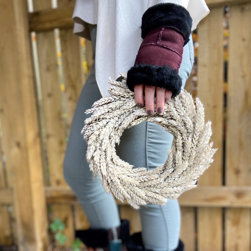 Sheepskin Fingerless Mittens