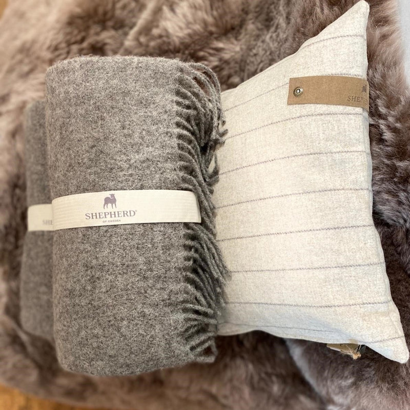 Pure RAw Grey Wool Blanket from Shepherd of Sweden
