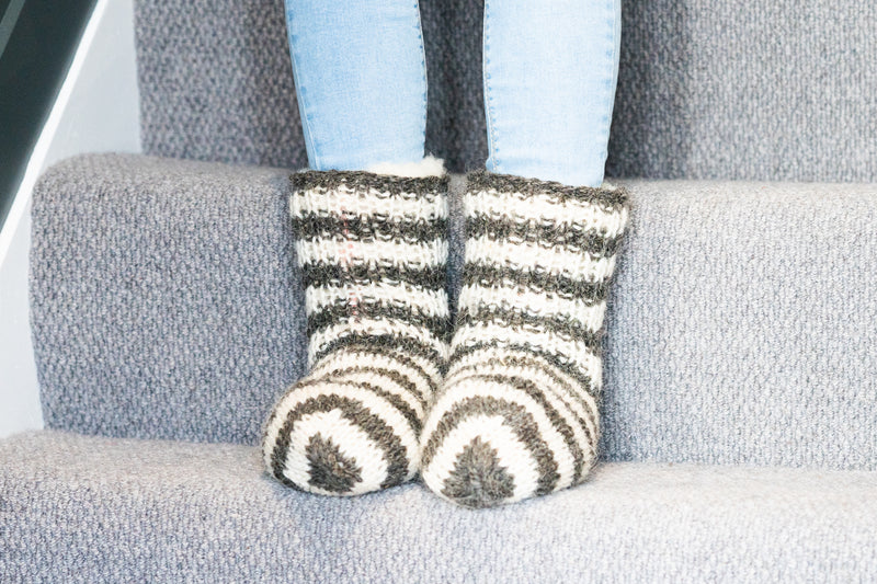 Super Woolly Slipper Socks (Wide Stripe)