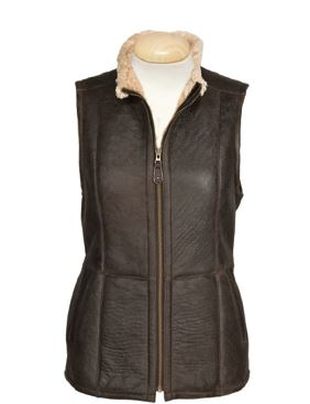 Ladies Sheepskin Gilet in Brown