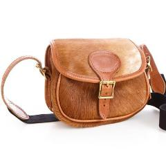 Hair On Tan Leather Hide Cartridge Bag