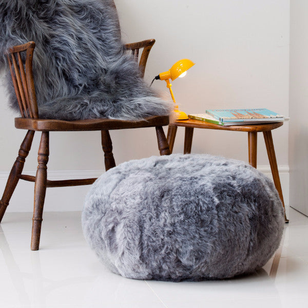 Sheepskin Footstool / Floor Cushion Icelandic shorn in Grey