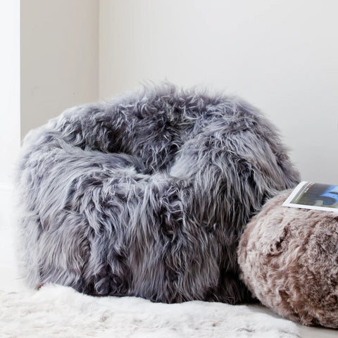 Icelandic Sheepskin Bean Bag (Harrogate Grey)