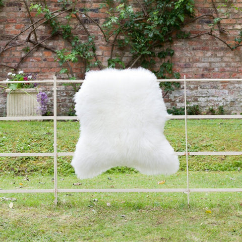 British Sheepskin Rug - Long Haired Cream / White Natural