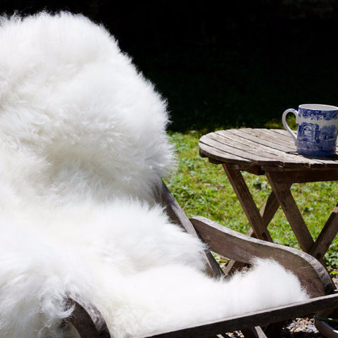 Long Haired Cream / White Natural British Sheepskin Rug