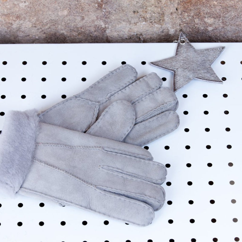 Ladies Sheepskin Gloves ( Light Grey)