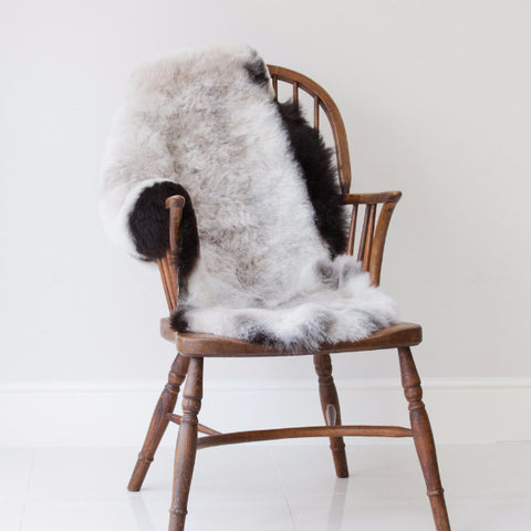 Short Haired Natural Icelandic Sheepskin Rug with Dark Grey Edges