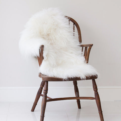Long Haired Icelandic Sheepskin Rug (Natural White)