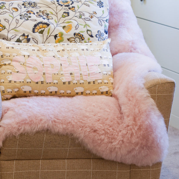Pale Pink Short wool Icelandic Sheepskin rug