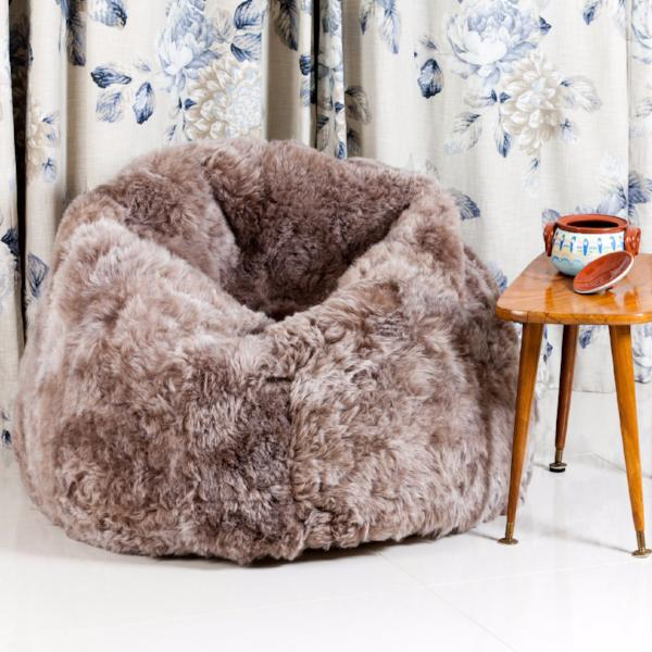 Icelandic Sheepskin Beanbag in grey Long Haired by Westmorland Sheepskins