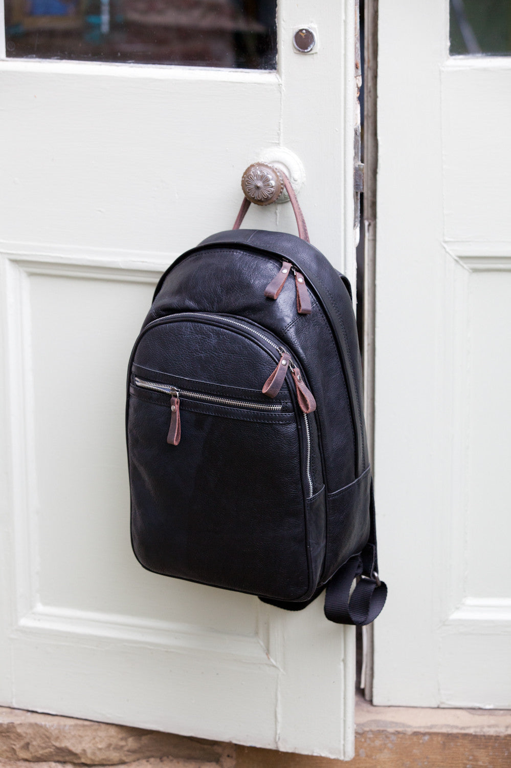 a01578c46b3 ... Unisex Leather Rucksack   Backpack - 4555 (Tan and Black) ...