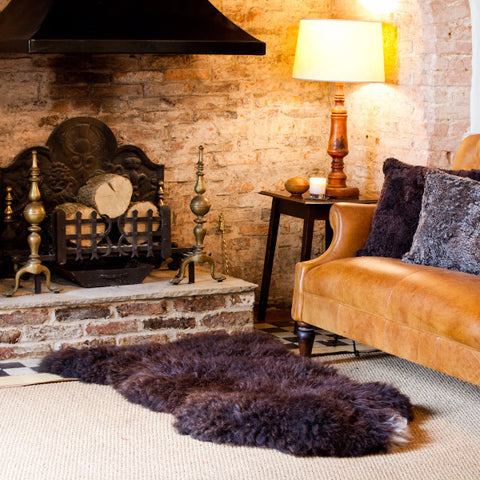 Long Haired Dark Brown Natural British Sheepskin Rug