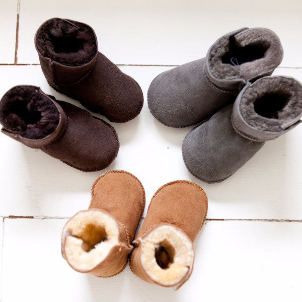 Tabbed Baby Booties (Tan, Brown and Grey)