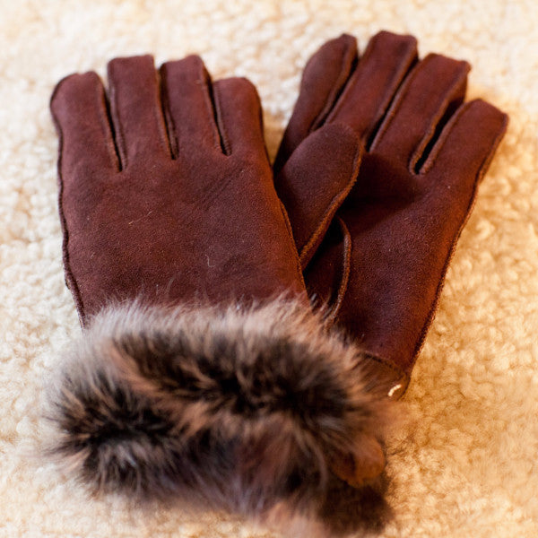 Toscana Trim Sheepskin Gloves (Black and Brown)