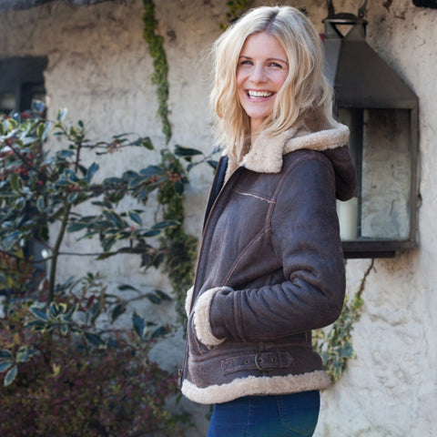 Ladies Sheepskin  Aviator Jacket with Detachable Hood