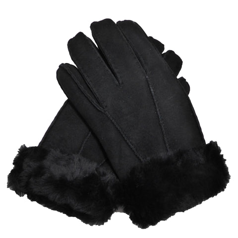 Ladies Sheepskin Gloves With Turn Up Cuff - Black