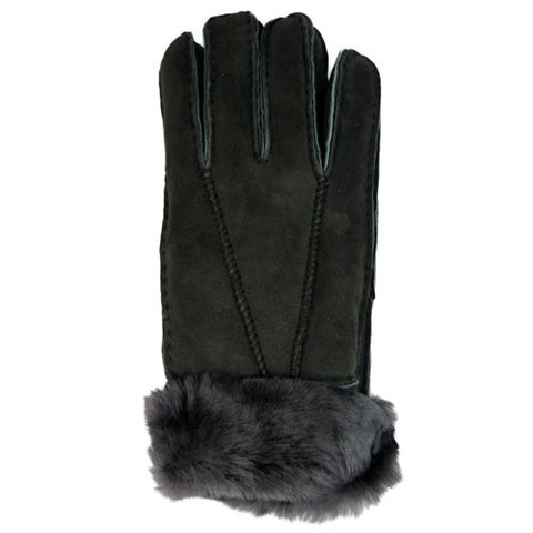 Ladies Sheepskin Gloves With Turn Up Cuff - Brown