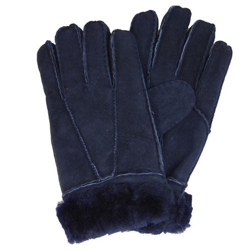 Ladies Sheepskin Gloves With Turn Up Cuff - Navy