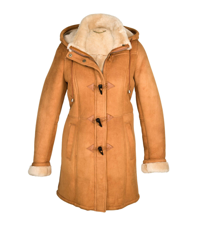 Ladies Double Faced Sheepskin Duffle Coat - Vicki