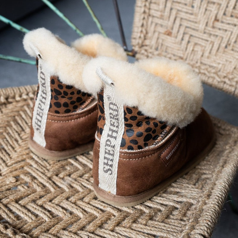 Bella Leopard Print Sheepskin Slipper Boot