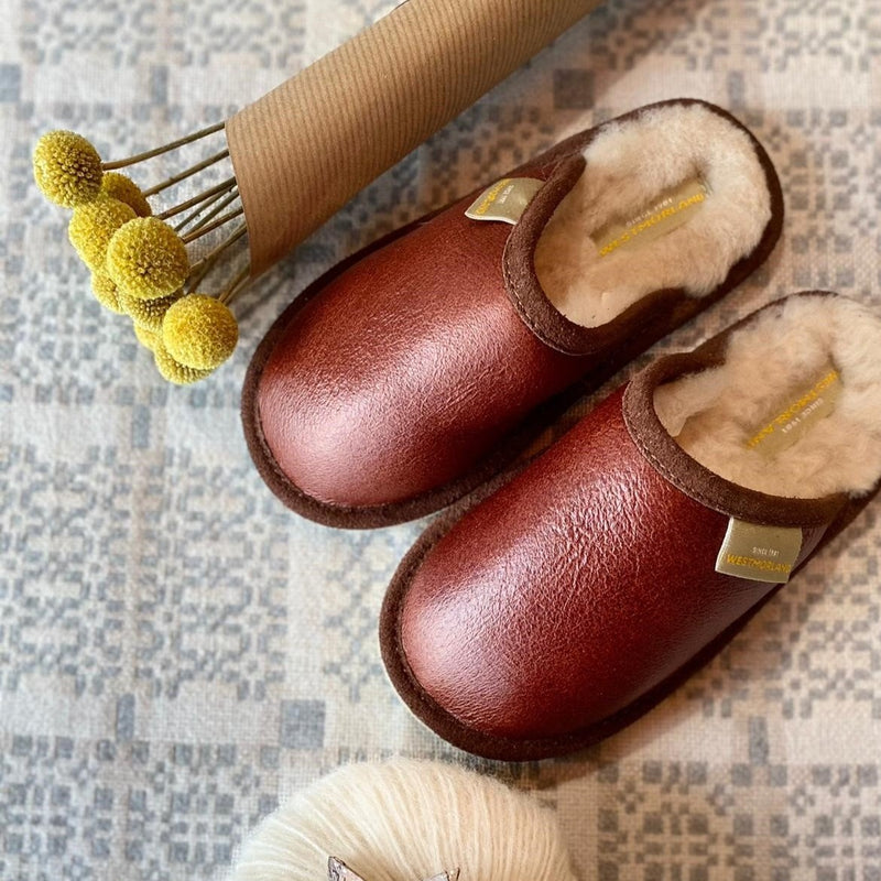 Huw  Child's Sheepskin Slipper (Brandy)