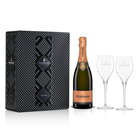 FERRARI ROSE - BLACK METAL GIFT BOX WITH 2 ROYAL FLUTE GLASS - FERRARI SINGAPORE