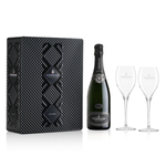 FERRARI PERLE NERO - BLACK METAL GIFT BOX WITH 2 ROYAL FLUTE GLASS - FERRARI SINGAPORE