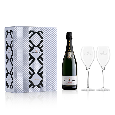 FERRARI BRUT - WHITE METAL GIFT BOX WITH 2 ROYAL FLUTE GLASS - FERRARI SINGAPORE