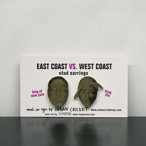 East Coast Vs. West Coast Earrings. Vintage Gold.