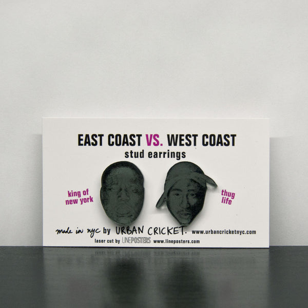 East Coast Vs. West Coast Earrings. Gunmetal.