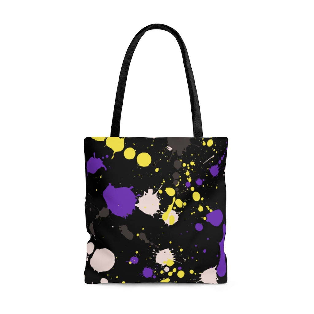 Non-Binary Paint Splash Tote Bag
