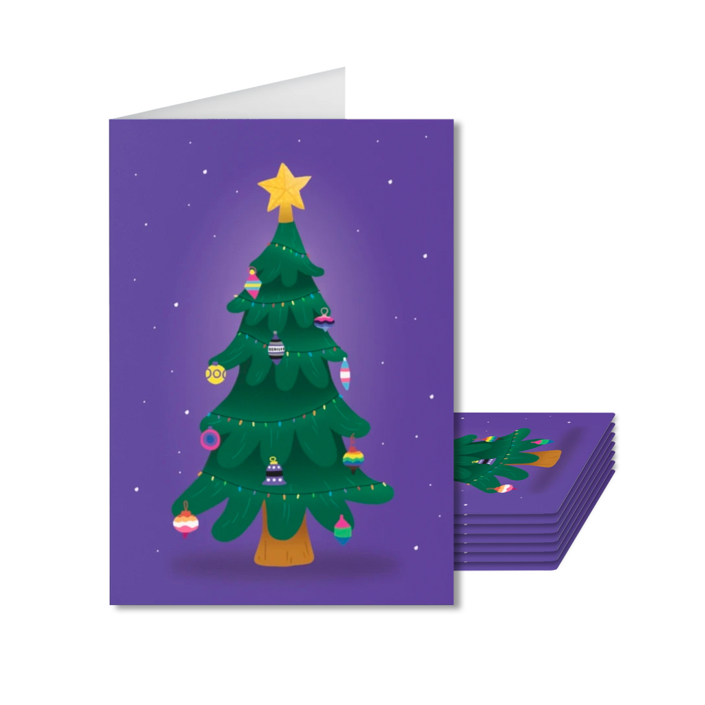 Pack of 8 LGBT+ Christmas Tree Cards