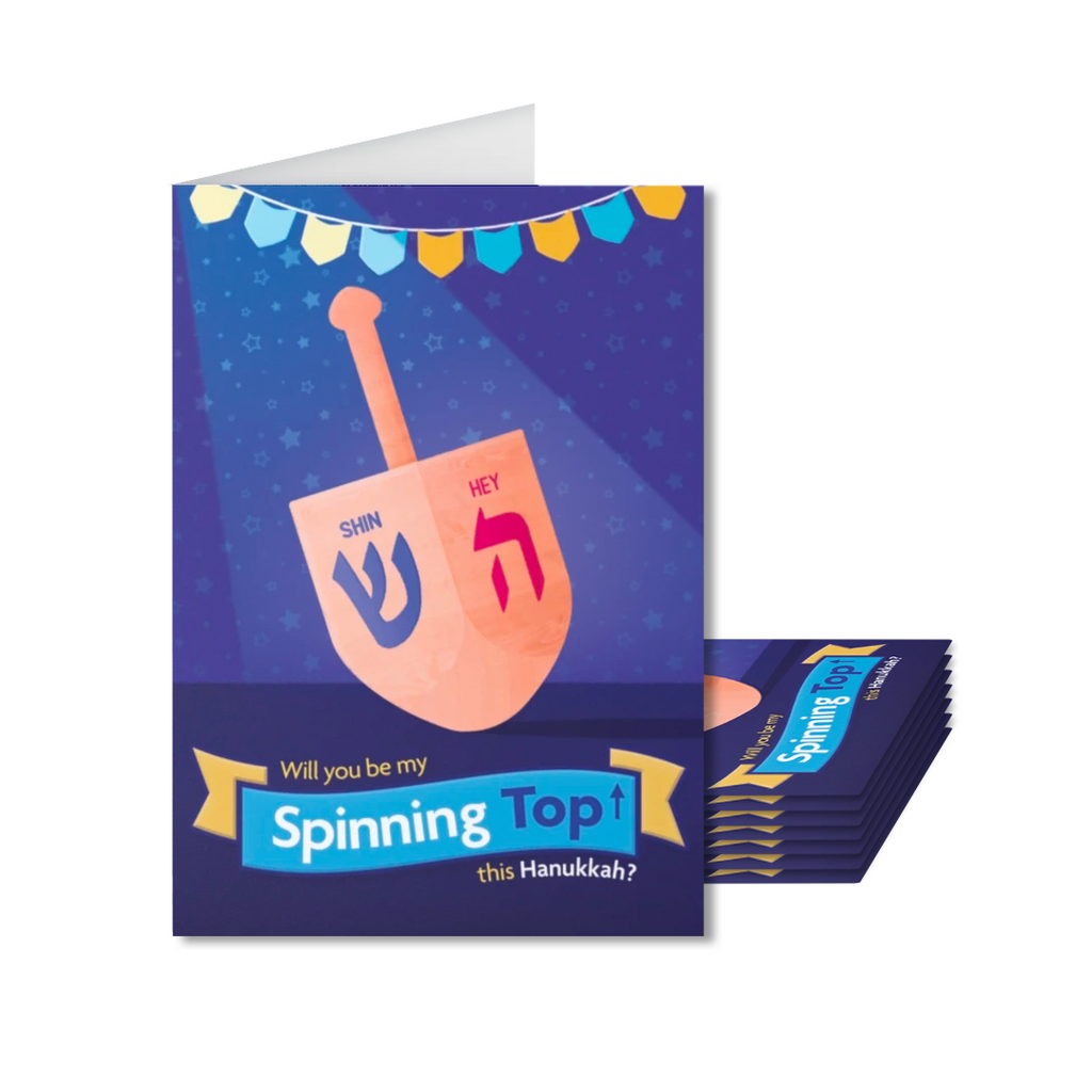 Pack of 8 Spinning Top Hanukkah Cards