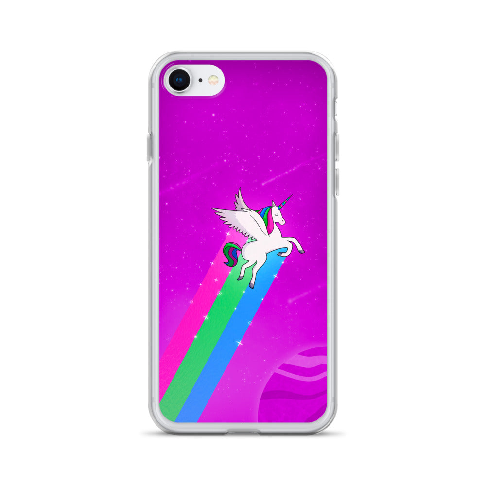 Poly Rainbow Unicorn iPhone Case