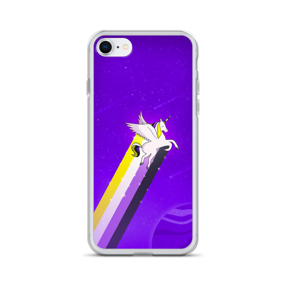 Non-Binary Rainbow Unicorn iPhone Case