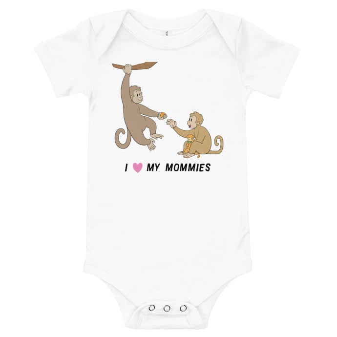 Monkey Proud Mommies Baby Bodysuit