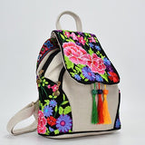 Colorful embroidered canvas backpack